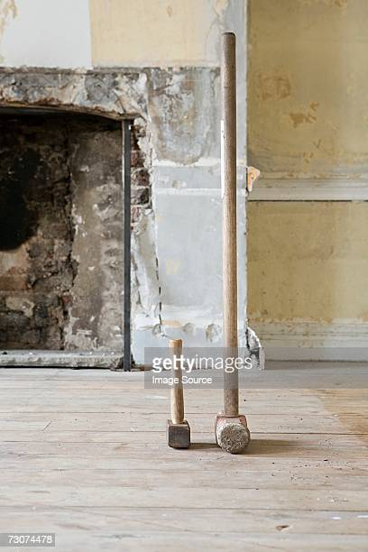 Large and small mallets in a room