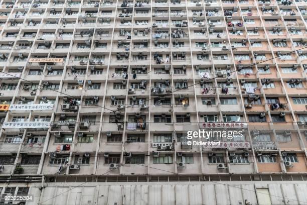 large apartment block in hong kong north point district - didier marti stock photos and pictures