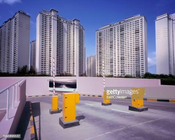 Large apartment buildings at modern residential neighborhood