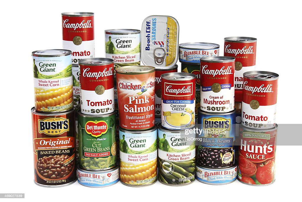 Large assortment of canned foods : Stock Photo