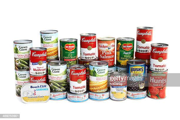 large assortment of canned foods - canned food stock pictures, royalty-free photos & images
