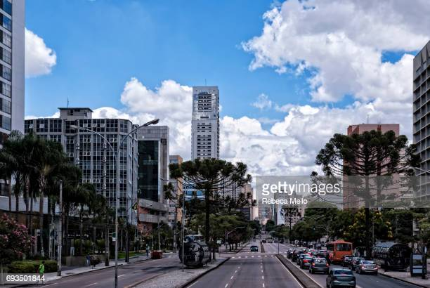 large avenue in curitiba - curitiba stock pictures, royalty-free photos & images