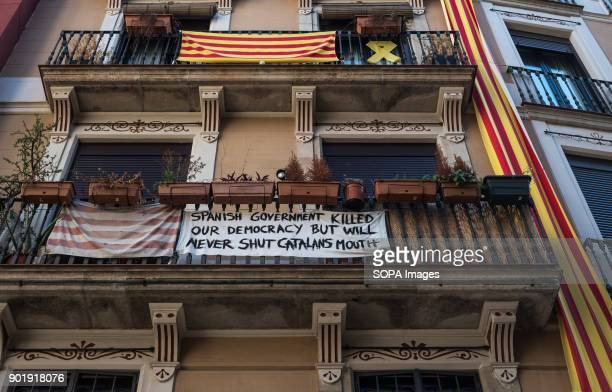 A large banner hanging from a balcony in the Ciutat Vella of Barcelona in favour of freedom of expressionSince 2 December 2013 when the catalan...