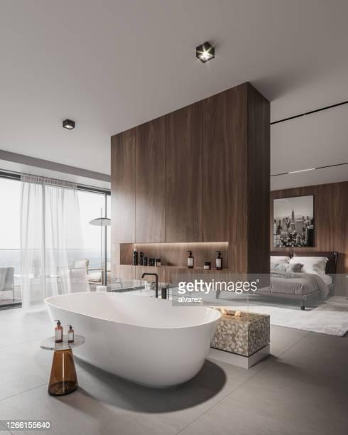 large bathroom interior in 3d - dentro imagens e fotografias de stock