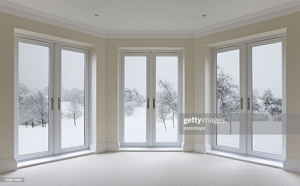 Large Bay Windows And Winter View Stock Photo Getty Images
