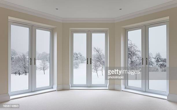 large bay windows and winter view - erker stockfoto's en -beelden