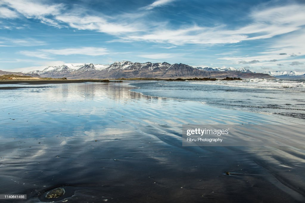 Large Beach With Blue Sky Refection And
