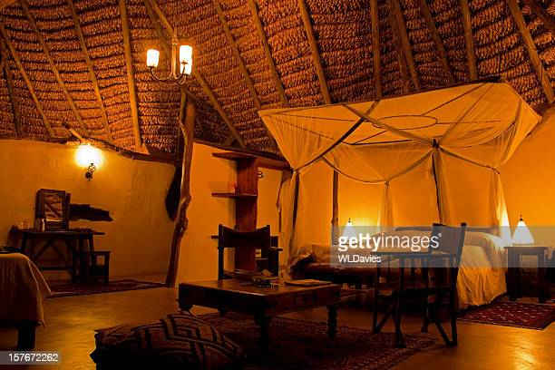 large bedroom in a safari tent - night safari stock pictures, royalty-free photos & images