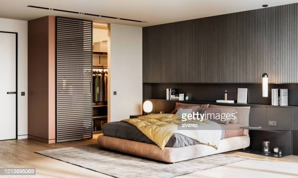 large bedroom interior 3d rendering - closet stock pictures, royalty-free photos & images