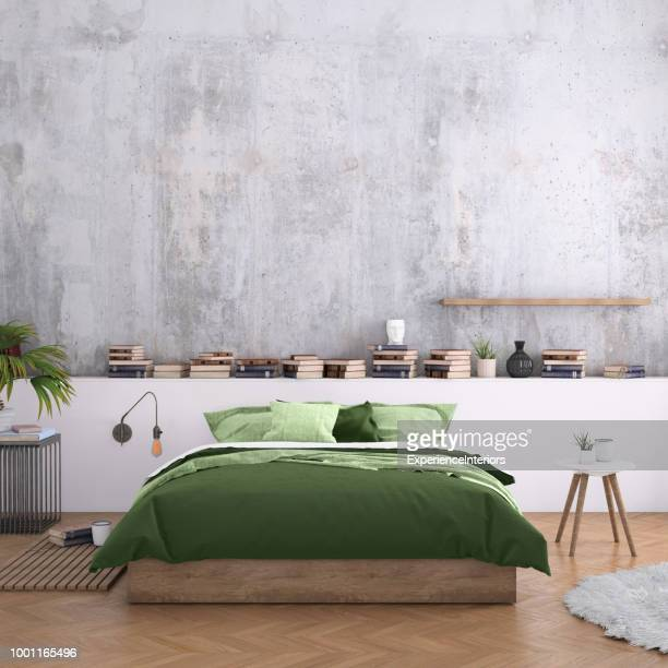 large bedroom interior with blank wall - camera da letto foto e immagini stock