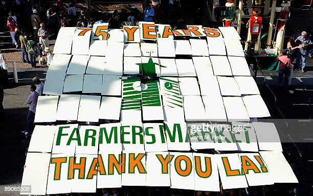 A large birthday card is displayed at the 75th Anniversary Birthday Party for the original Farmers Market on July 16 2009 in Los Angeles California