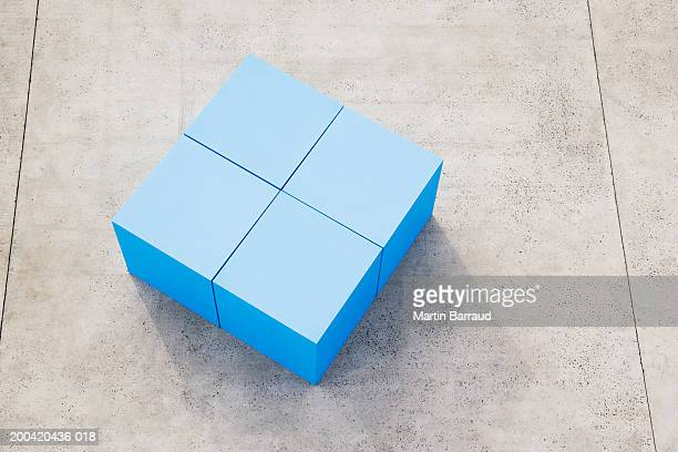 Large blue blocks, elevated view