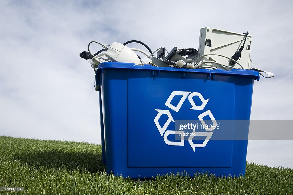 A large blue container for recycled goods : Stock Photo