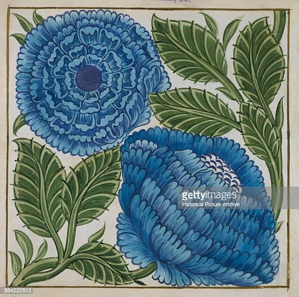 Large Blue Flower Watercolor Tile Design by William de Morgan