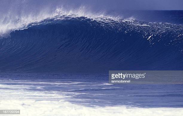 large blue wave - banzai pipeline stock photos and pictures