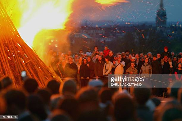 A large bonefire is lit in Skansen the Swedish National heritage park in Stockholm 30 April 2004 as Sweden celebrates the Valborgsmss Celebrating...