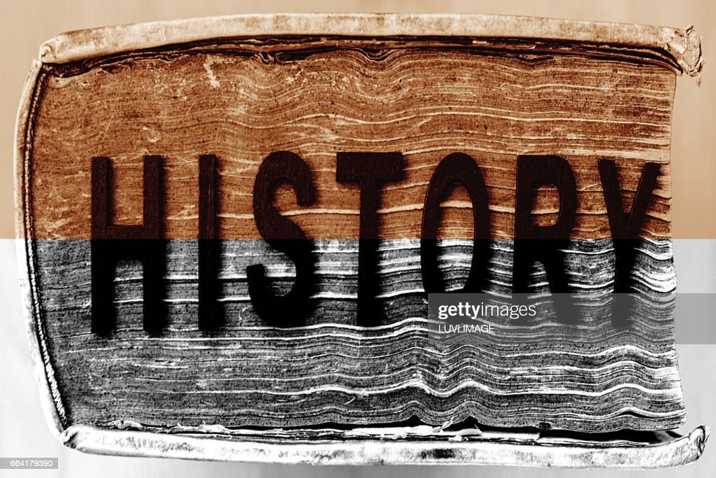 large book with the word history on it stock photo getty images