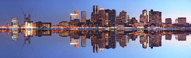 Large Boston City Panorama At Night Wall Art