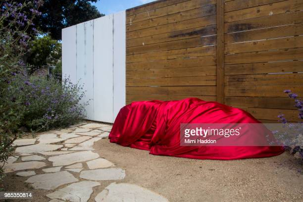 large boulder in front yard wrapped in red silk fabric - eingewickelt stock-fotos und bilder