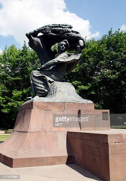 A large bronze statue of Frederic Chopin Poland's greatest composer is located in Lazienki Park in Warsaw Poland May 24 2011