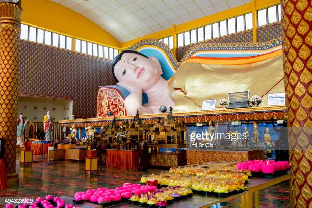 large buddha statue in wat chayamangkalaram temple, george town, penang, malaysia - buddha state stock pictures, royalty-free photos & images