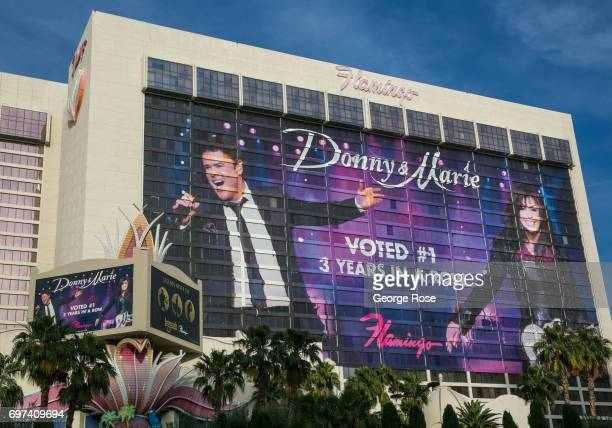 A large buildingsized billboard promoting Donny Marie Osmond is displayed on the exterior of the Flamingo Hotel Casino on May 29 2017 in Las Vegas...