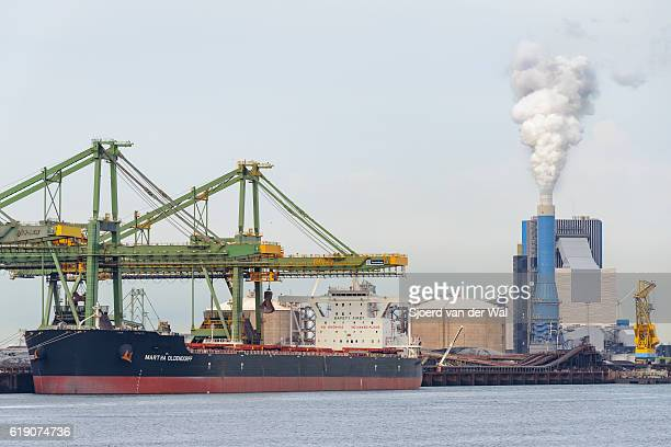 Large bulk carrier with coal in port