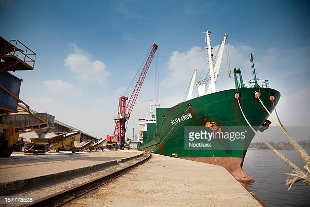 Large cargo ship being loaded in Port of Ghent
