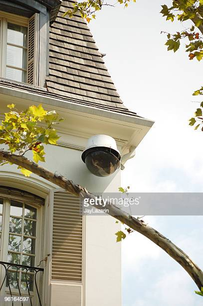 Large CCTV security surveillance camera on a NYC townhouse.