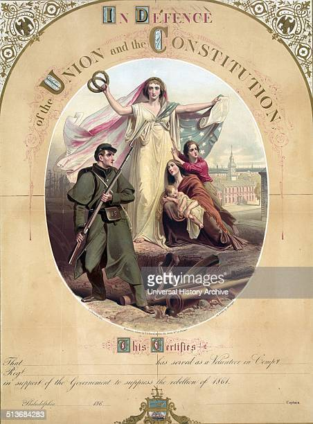 A large certificate for a volunteer serving in the Union army to suppress the rebellion of 1861 In the centre stands a woman probably Columbia...