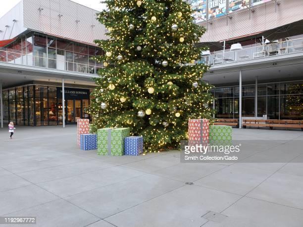 Large Christmas tree at City Center Bishop Ranch, a shopping mall in San Ramon, California, November 30, 2019.