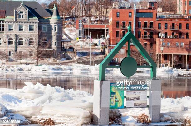 Large chunks of ice line both sides of the Kennebec River in this view taken from the Augusta Boat Launch around 1140 am on Tuesday Jan 16 2018 in...