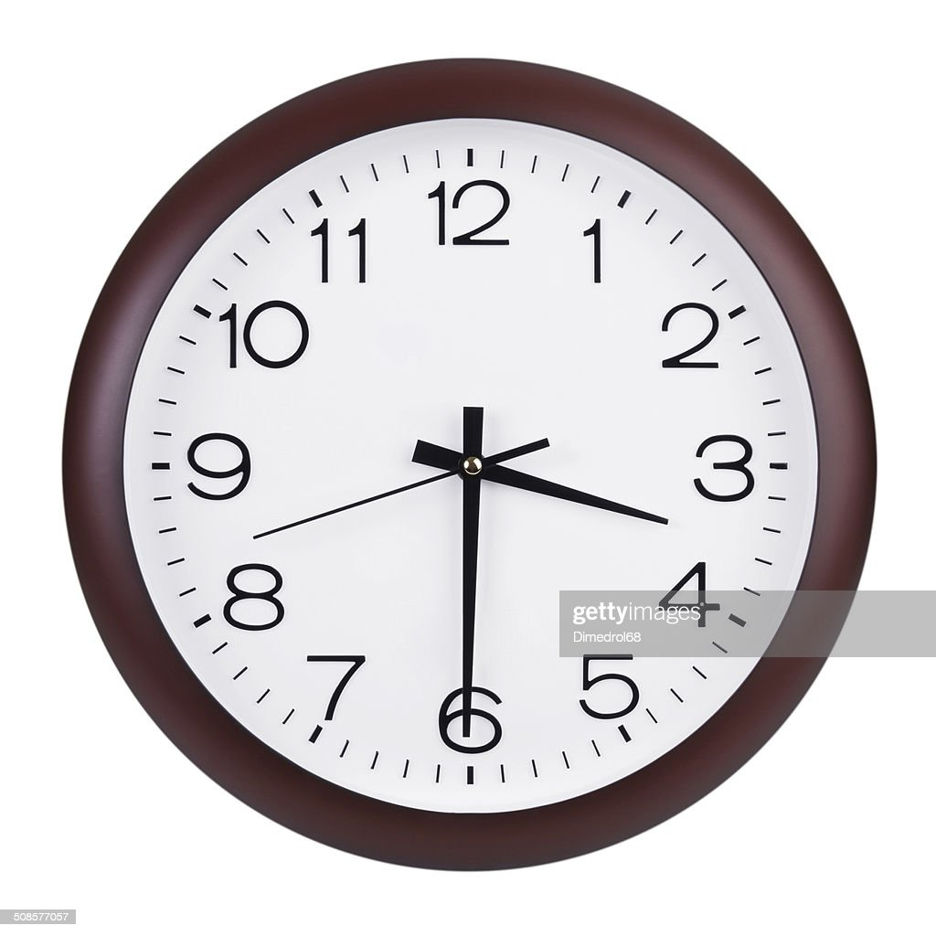 Large clock shows half of the fourth : Stockfoto