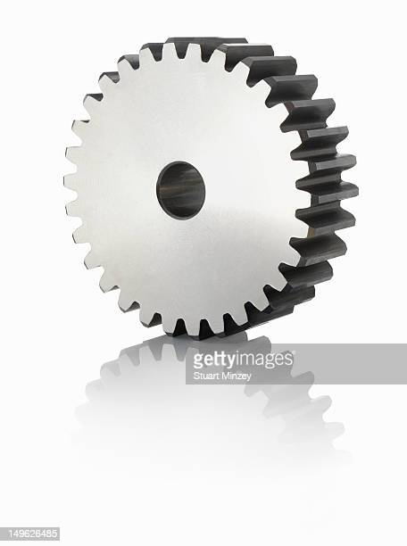 Large cog on white background with reflection