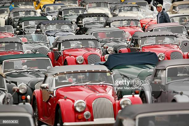 A large collection of Morgan sports cars gather at the Morgan Centenary Festival on August 1 2009 at Cheltenham racecourse England The Morgan Motor...