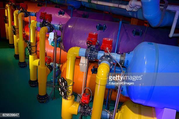 Large colorful water filtration tanks at Ripley's Aquarium Toronto