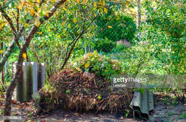 large compost heap in the garden - heap stock pictures, royalty-free photos & images