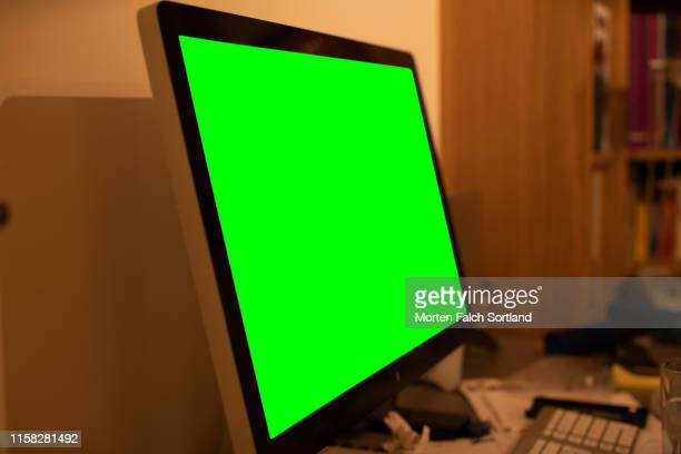 large computer screen in oslo, norway - black border stock pictures, royalty-free photos & images