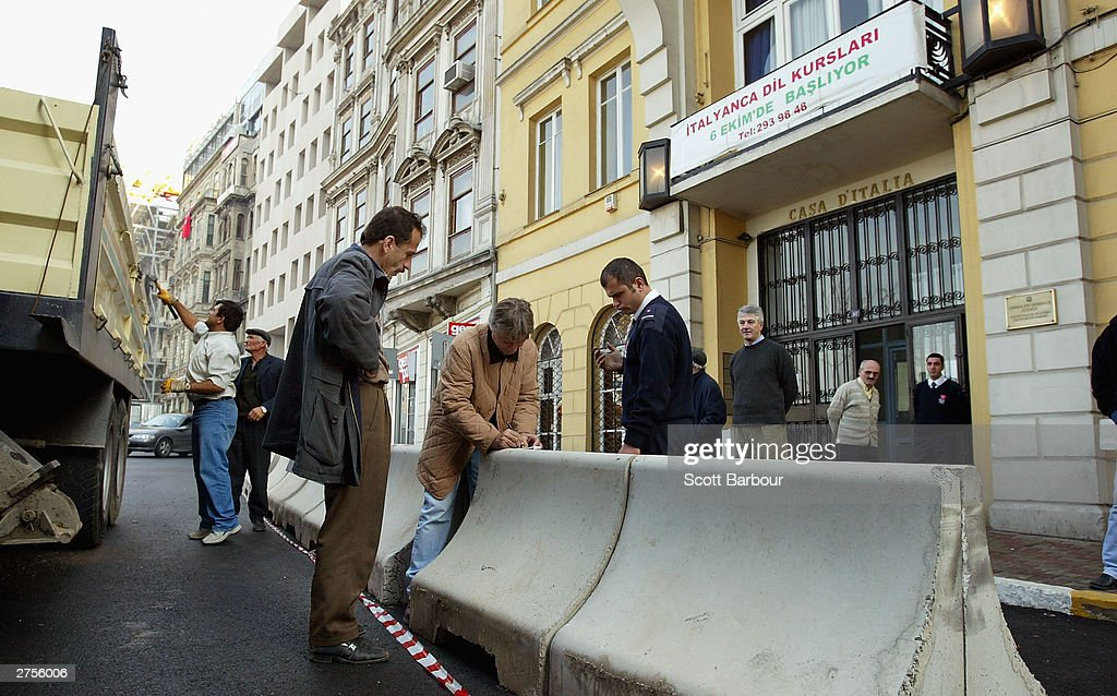 Large concrete blocks are placed in front of the Italian consulate November 23, 2003 in Istanbul, Turkey. Bomb attacks on the British consulate and the HSBC bank headquarters killed 27 people and left hundreds injured.
