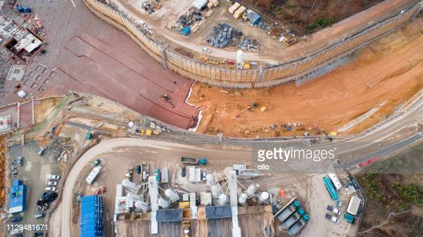 large construction site - aerial view - civil engineering stock pictures, royalty-free photos & images