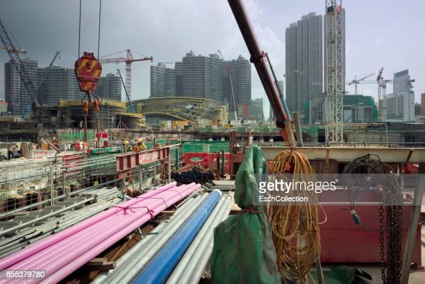 Large construction site at Yau Tsim Mong in Hong Kong