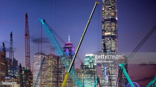 Large construction site in Hong Kong at dusk