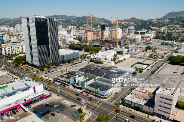 Large construction site with tower cranes Hollywood Los Angeles California USA