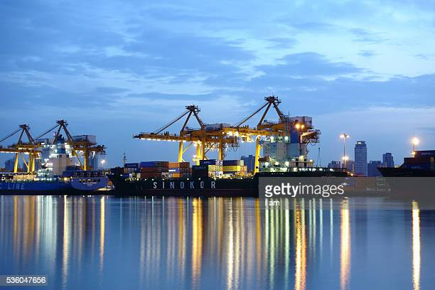 Large container ship arriving in port
