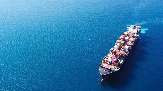 Large container ship at sea - Top down Aerial Image 868192214