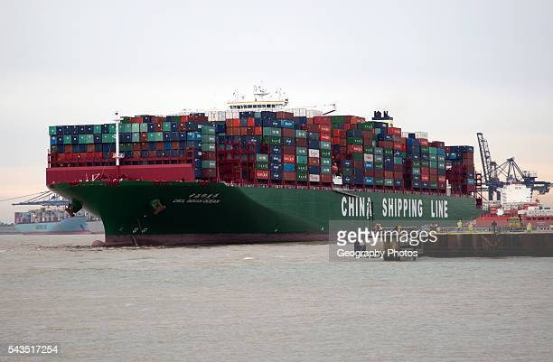 Large container ship the Indian Ocean of China Shipping Line Port of Felixstowe Suffolk England UK