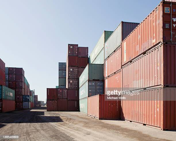 Large containers on commercial dock in Long Beach, California