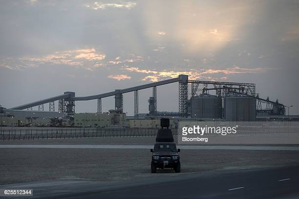 A large conveyor belt carries raw bauxite to the aluminium processing plant at the Ras Al Khair Industrial City operated by the Saudi Arabian Mining...