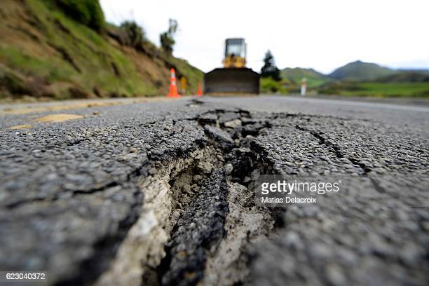 Large cracks are seen on Highway 7 following a 75 magnitude earthquake on November 14 2016 near Hanmer Springs New Zealand The 75 magnitude...
