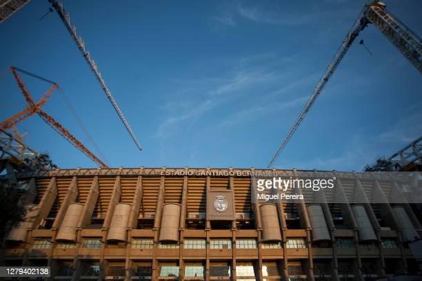 Large cranes work on the renovation of Santiago Bernabeu stadium on October 9, 2020 in Madrid, Spain. Azca, considered the business heart of the...
